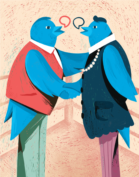 vesa matti juutilainen editorial illustration good manners in social media twitter Advokaatti magazine featured
