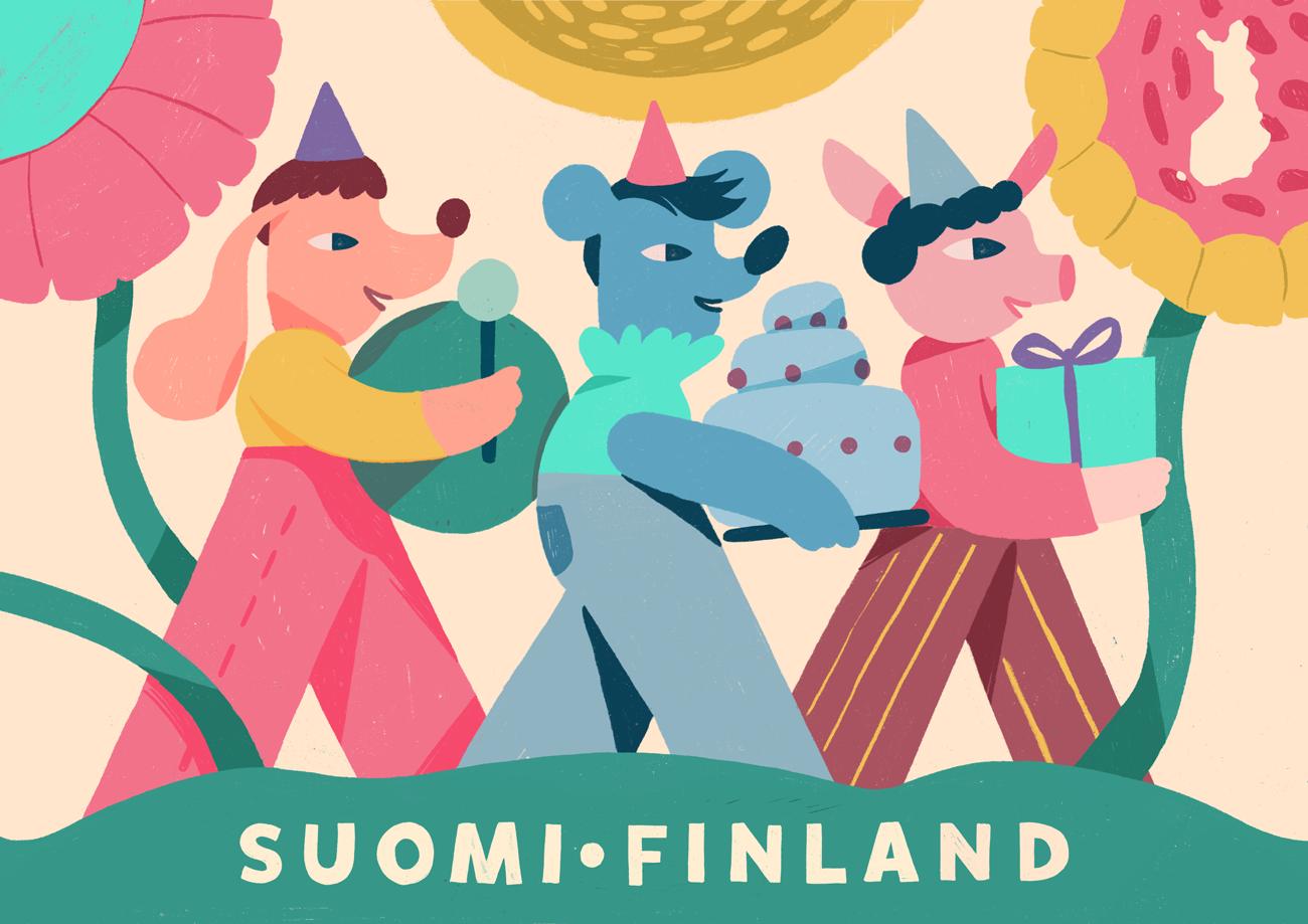Celebration Stamp illustration by Vesa-Matti Juutilainen